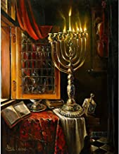 (34x44cm)Happy Hanukkah,5D DIY Diamond Painting Candle Art Kit, Mosaic Paint by Diamond Embroidery Cross Stitch Handmade Home Decor Gift