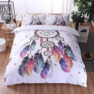 3 PCS Bedding Set Duvet Cover 230 x 260 cm + 2 Pillowcase 51 x 90 cm Colorful Indian Dream Catcher Duvet Cover Set Dreamcatcher Duvet Covers Ornament (Super King, White, Black)