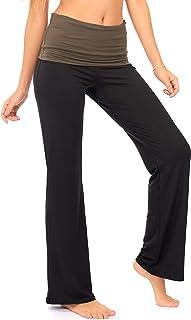 DEAR SPARKLE Fold Over Yoga Lounge Stretch Pants Women   Contrasting High Waist Loose Pregnancy Pant Plus (P8) Black
