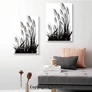 SfeatruRWF 2 Panel Canvas Wall Painting,Silhouette of Bushes Wild Plants Wheat Field Twiggy Herbs Seasonal Picture,24