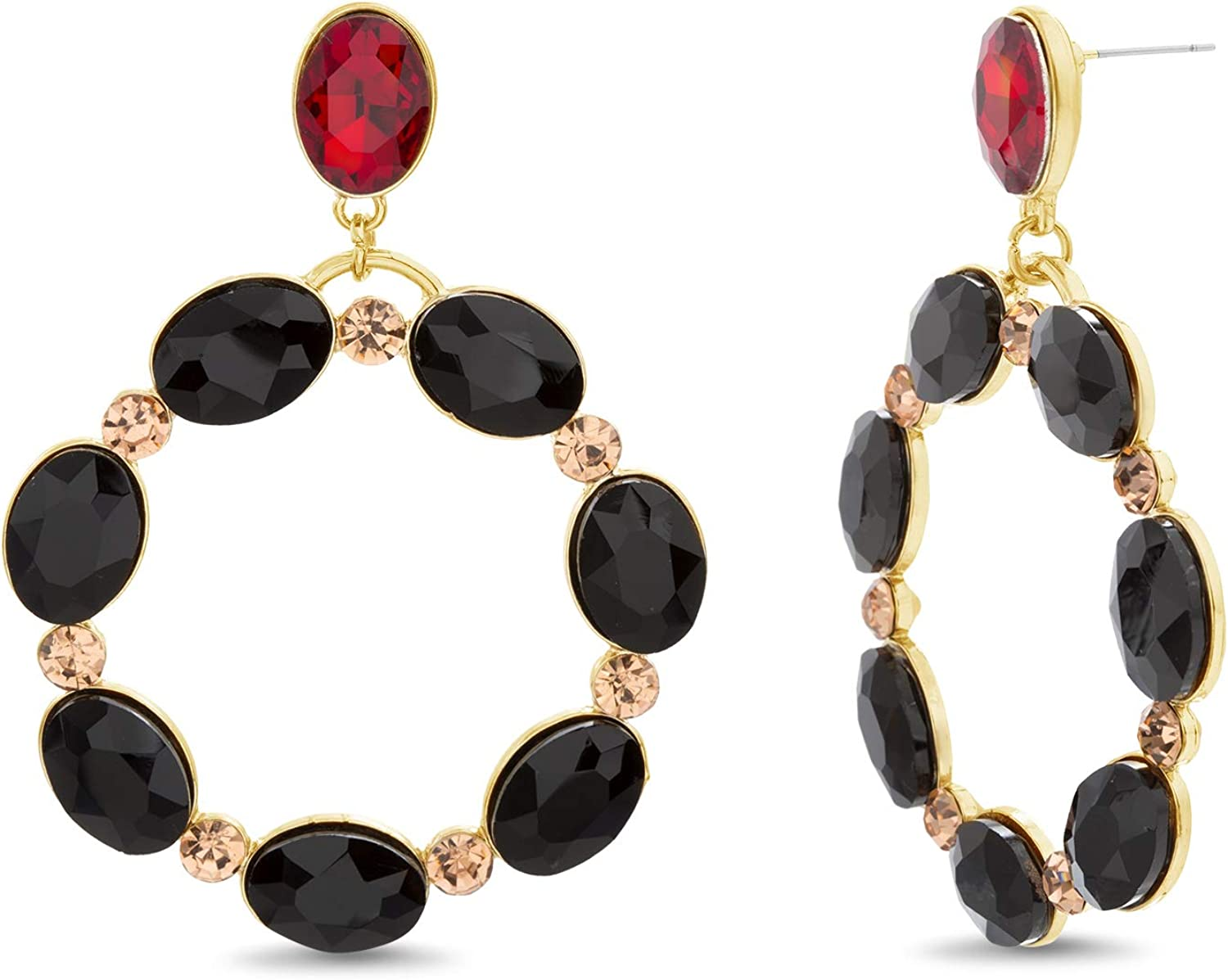 Steve Madden Yellow Gold Tone with Black and Red Rhinestone Open Circle Drop Earrings For Women