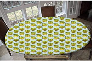 LCGGDB Nappe élastique en polyester avec motif cactus - Motif losanges - Rectangles avec plantes d'Amérique du Sud - Nappe...