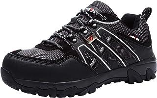 LARNMERN Zapatos de Seguridad para Hombre, Puntas de Acero Antideslizantes SRC Anti-Piercing Zapatos de Trabajo