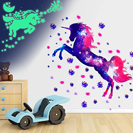 Stickers Unicornio Pared,Pegatinas Pared Unicornio Extraíbles, Para Niñas Niños Dormitorio Pegatinas Unicornio Pared,Vinilo Decorativo para Pared con Diseño de Unicornio,Habitación Infantil (1)