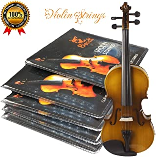Premium Violin Strings Set Dominant Violin String Size Fit 3/4 4/4 G D A & E (1 Set) Stainless Steel Core With Nickel Silver Wound Ball End-Medium Gauge & Warmest Tones Best Gift For Beginner Student