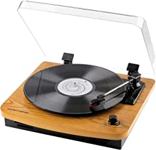 Musitrend Turntable 3-Speed Belt-Drive Vinyl Record Player with Built-in Stereo Speakers, Vintage Style Record Player Support Vinyl-to-MP3 Recording, AUX RCA Headphone Jack