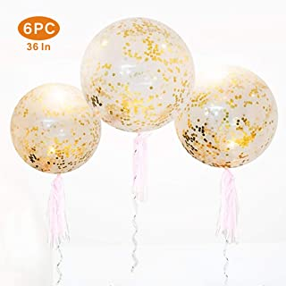 36 Inch Jumbo Confetti Balloons, Giant Latex Balloon with Gold Confetti (Premium Helium Quality) Pkg/6 Latex Glitter Balloons for Party/ Birthdays /Wedding/Festivals Christmas and Event Decorations