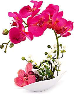 Louis Garden Artificial Silk Flowers 7 Head Simulation Phalaenopsis Arrangements Bonsai (Simulation of Water) (Red)