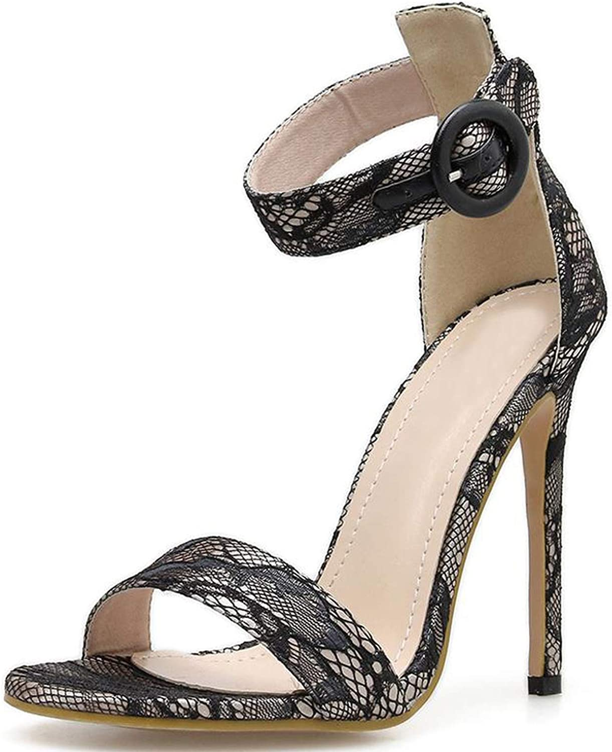 Sexy Silk Ankle Strappy Open Toe High-heelsed shoes Woman Sandals Summer shoes,Black,6