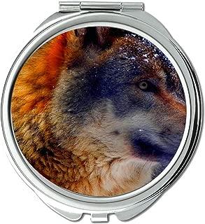 Yanteng Flying Pig Men Mirror,Small Mirror,Close-Up Winter Animal Wolf,Pocket Mirror,1 X 2X Magnifying