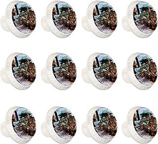 Boutons D'armoire 12 Pcs Poignés Poignée De Champignons Porte Poignées avec Vis pour Cabinet Tiroir Cuisine,Voyage de chat