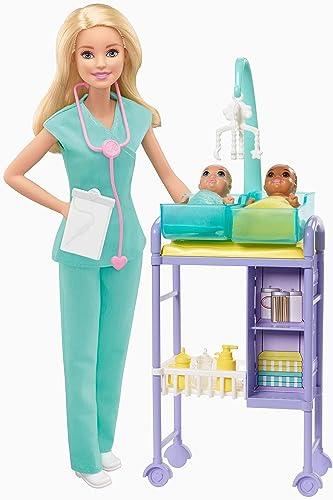 Barbie Métiers coffret poupée Pédiatre blonde avec cabinet médical, deux bébés et accessoires, jouet pour enfant, GKH23