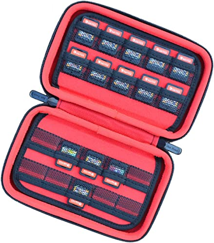 Hard Game Holders Storage Case for Nintendo Switch Games or PS Vita or SD Memory Card (Black/Red)