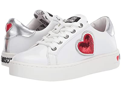 LOVE Moschino Sequin Heart Sneaker (White) Women