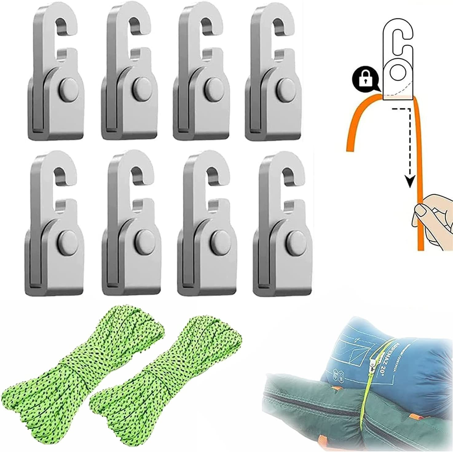 4pcs Year-end gift Pack Automatic Lock Hook Knot Easy Free Self-Locking Tighte Finally resale start