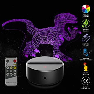 APOLLED 3D Night Light for Kids Girls Boys Children Baby - Bedside Lamp for Christmas Birthday Gifts Toys, Remote Control, Smart Touch,7 Colors (Dinosaur)