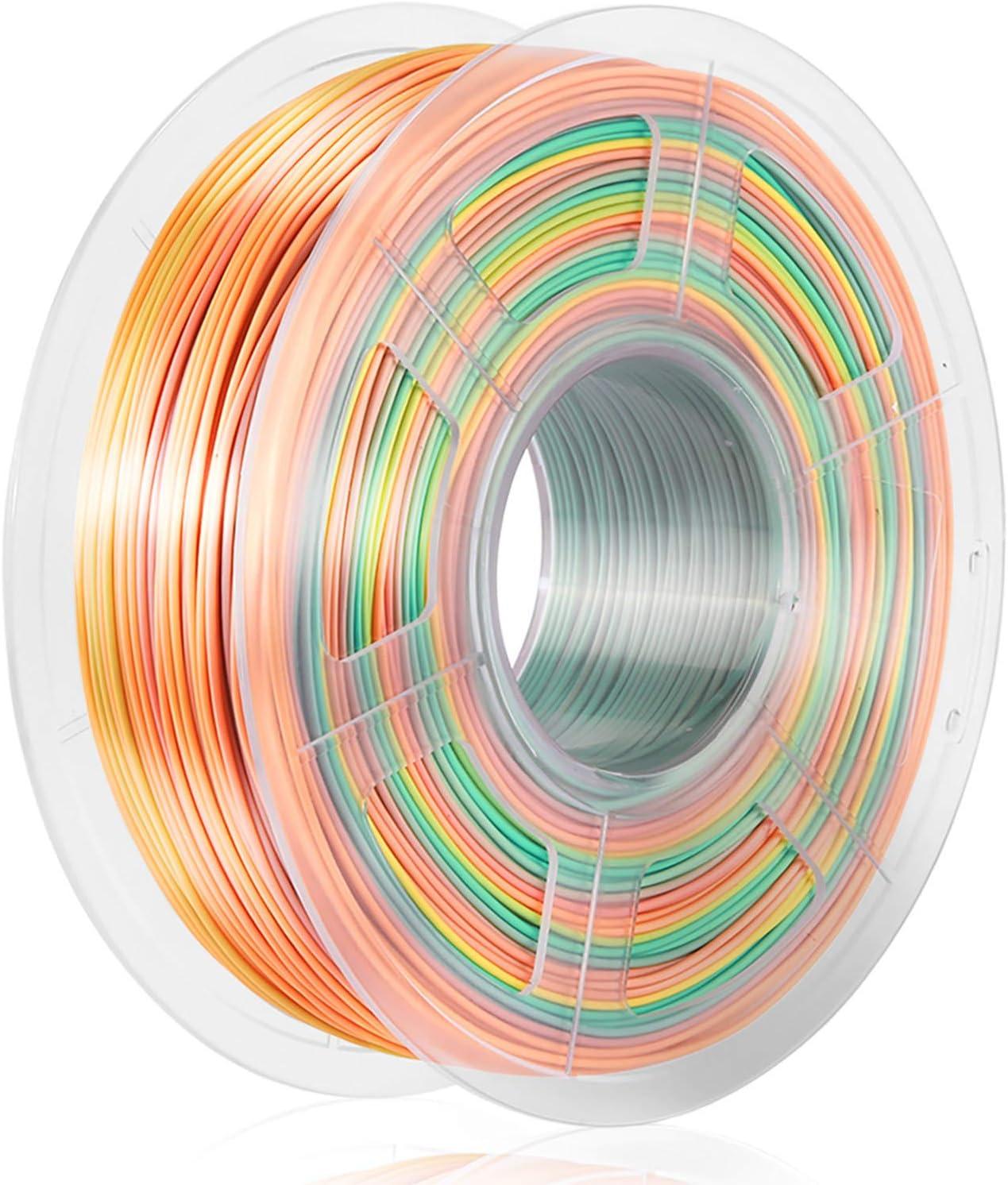 SUNLU Rainbow Silk PLA+ 3D Printer Filament, 3D Printing PLA+ Filament 1.75mm, 1kg(2.2LBS) Spool, Rainbow
