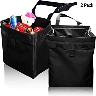 Zone Tech 2-Pack Fully Leak Proof Vehicle Litter Bag – Classic Black Premium Quality Black Universal Traveling Portable Car Trash Can