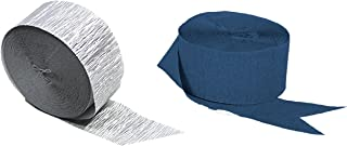 Silver Metallic Crepe Paper Color Combinations (Dark Navy Midnight Blue + Silver), 290 FEET Total, Made in USA
