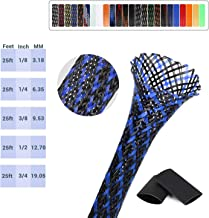 Expandable Braided Cable Sleeve 0.5 inch Flexible Braided Cable Sleeve, 25ft Wire Loom Sleeving Protector for Audio Video and Automotive Wire,BlackBlue