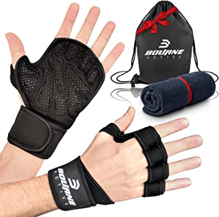 Ventilated Weight Lifting Gloves for Gym Workout PLUS Bonus Gym Towel & Bag Kit. Wrist Wrap Support for Weightlifting & Cross Training Fitness. Full Palm Protection Gym Gloves for Men & Women.