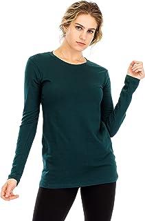 NANAVA Women's Casual Regular Fit Cotton Crew Neck Long Sleeve T-Shirt Top