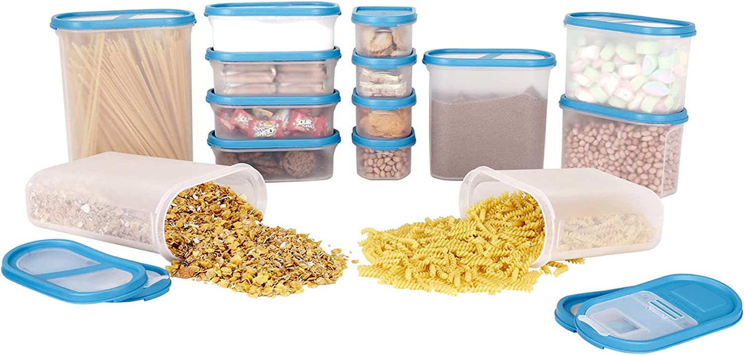 SIMPARTE 14 Container New York Chicago Mall Mall Set Pantry Airtight Dry and Cereal Snacks