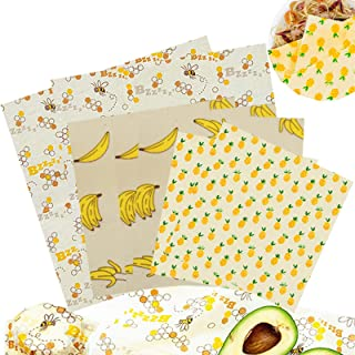 DANIVE Beeswax Food Wrap - Reusable Eco-friendly Bees Wrap, Organic Biodegradable Beeswax Wraps for Food & Bowls, Zero Was...