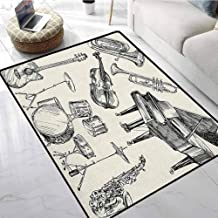 Jazz Music Small Area Rugs 5x7 ft Collection of Musical Instruments Sketch Style Art with Trumpet Piano Guitar Rubber Floor Mats