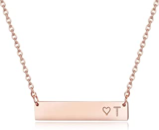 Rose Gold Plated Stainless Steel Initial Heart Bar Necklace Alphabet Pendant Necklace for Women Mother, 16