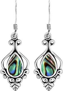 Victorian-Era Inspired Abalone Shell .925 Sterling Silver Dangle Earrings