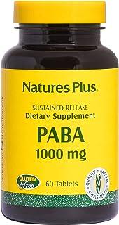 NaturesPlus PABA, Sustained Release (para-Aminobenzoic Acid) - 1000 mg, 60 Vegetarian Tablets - Skin Health Support Supple...