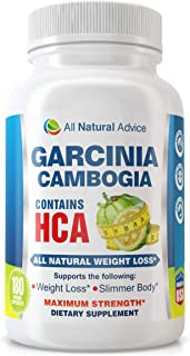 All Natural Advice Weight Loss Garcinia Cambogia (180 Capsules) – Dietary Supplement Maximum Strength Slimmer Body