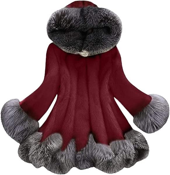 Reokoou Faux Fur Parka Outwear For Women Long Sleeve Shearling Shaggy Oversized Hoodie Jacket Warm Coat With Pocket