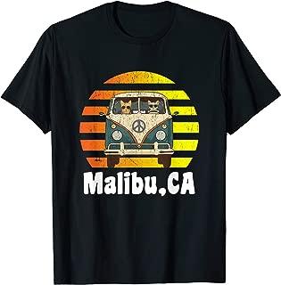 Malibu CA Road Trip Distressed Retro Vintage Hippie Van T-Shirt