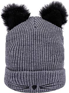 FEDULK Sale Women's Beanie Hat Winter Warm Knitted Cat Ear Wool Hemming Pompom Caps