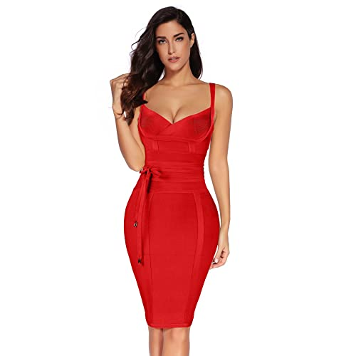 e02e5a3f6f5 Meilun Womens Rayon Belt Detail Bandage Bodycon Party Dress