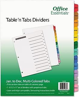 "Office Essentials Table 'n Tabs Dividers, 8-1/2"" x 11"", Jan-Dec Tab, Multicolor Tab, Buff Body, Laser/Inkjet, 1 Set/ST (11679)"