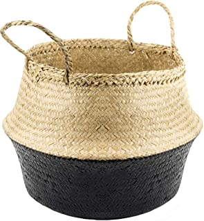 VNCraft Foldable Medium Black Bottom Seagrass Belly Basket with Handles for Storage, Nursery Laundry Tote Beach Bag Plant ...