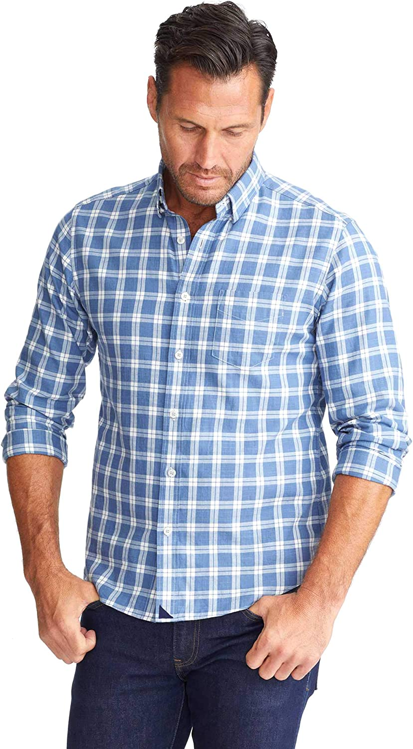 UNTUCKit Carmenet - Untucked Shirt for Men Blue Plaid Max 53% Direct store OFF Sle Long