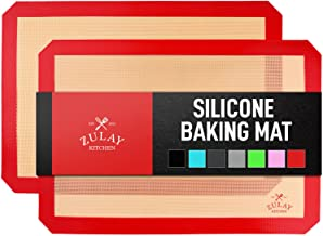 Zulay Kitchen Silicone Baking Mats 2 Pack Red