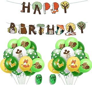QAQGEAR Jungle Woodland Safari Animal Latex Balloon Kids Theme Happy Birthday Banner Set Animal Fox Bunny Deer Squirrel Gr...