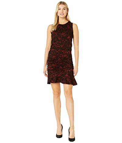 MICHAEL Michael Kors Glam Lace Jacquard Shirred Dress (Red Currant) Women