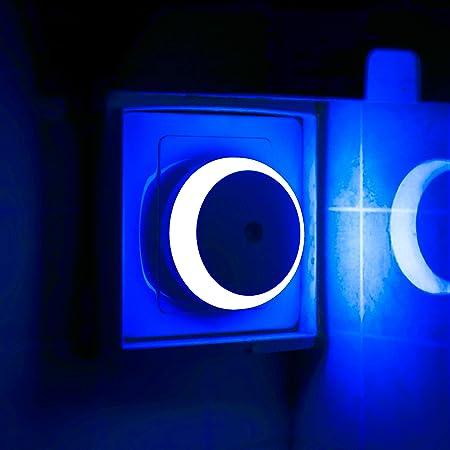 Veilleuse Bleue, Veilleuse LED avec Prise, Ronde, Détection de Lumière, Efficacité énergétique, Lot de 2