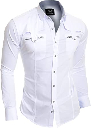 D&R Fashion Hombres de la Manera Adelgazan la Camisa con Bolsillos con Cremallera con Estilo
