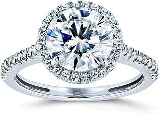 Round Brilliant Forever One Moissanite Halo Engagement Ring 2 1/6 CTW 14k White Gold (DEF/VS, GH/I)
