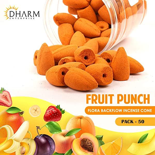 DHARM TRADES Backflow Incense Cone 1 Inch Pack Of 50 Natural Orange With Fruit Punch Fragrance