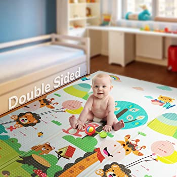 "Foldable Play Mat |【Easy to Clean, Fold Up】Non- BPA Non-Toxic Foam Baby Playmat 79"" x 71inchx 0.6"" Thick Extra Large Reversible Crawling Mat Portable Toddlers Kids (Cute Giraff)"