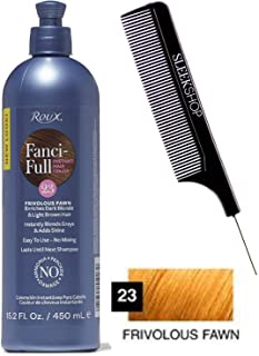 Roux FANCI-FULL Temporary Hair Color RINSE Conditioner Instant Haircolor (w/Sleek Comb) Instantly Blends Grays & Adds Shine, No Mixing, 15.2oz / 450ml (23 Frivolous Fawn)