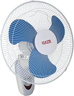 Four Star FB-1602R Wall Fan With Remote, 16 Inch, 3 Speeds - White & Blue
